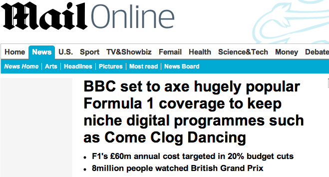 BBC to axe Formula 1 coverage for niche digital shows such as Come Clog Dancing   Mail Online